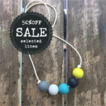 yellow black white blue grey handpainted wooden bead necklace