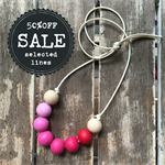 ombre pink painted wooden bead necklace