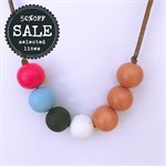salmon pink white blue grey and hot pink painted wooden bead necklace