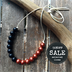 black and red copper metalic hand painted wooden bead necklace