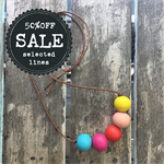 rainbow colourful painted wooden bead necklace