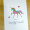 Girls Happy Birthday card - rainbow unicorn