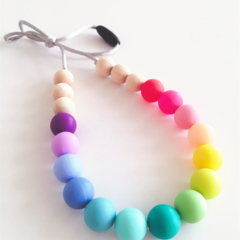 Washable Silicone & Natural Wood Necklace - RAINBOW
