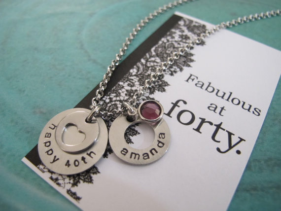 40th Birthday Gift For Her Best Friend Personalized Name Necklace