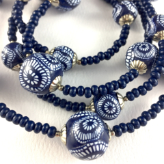 Handcrafted polymer clay long necklace- indigo navy blue and white targets
