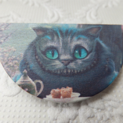 Alice in Wonderland Cheshire Cat Semi Circle Wood Print Brooch