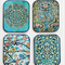 Handmade coasters, set of four MDF coasters with Persian tile pattern