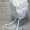 Vintage White Hand Crocheted Newborn Baby Bonnet Photo Prop