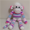 Sock Monkey - Striped Pale Pink, hot pink, pale blue, grey, purple and white