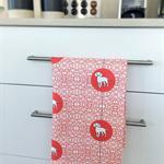 Tea Towel - Beagle Dog Breed in Red and White (custom design)
