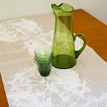 Linen Table Runner in White Dandelion design