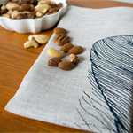 Linen Table Napkins in Navy Feather design