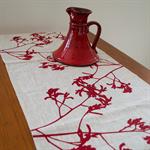 Linen Table Runner in Red Kangaroo Paw design