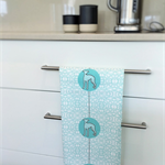 Tea Towel - Whippet Dog Breed in Aqua and White (custom design)