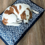 Dog Bed with insert  - 'Ashley' design in Navy and White - MEDIUM
