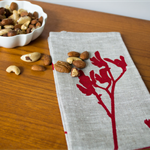 Linen Table Napkins in Red Kangaroo Paw design