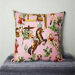 Henry alexander cowgirl cushion cover, cowgirl print, henry alexander cushion co