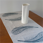 Linen Table Runner in Navy Feather design