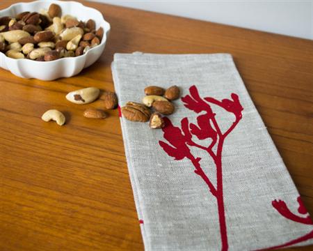 Linen Table Napkins in Red Kangaroo Paw design