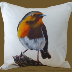 Cushion Cover, Robin, Bird, Wildlife, Colourful Throw Pillow, Decorative,