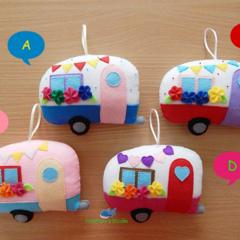 Happy Camper / Tooth Fairy Pillow / Caravan Tooth Fairy Pillow / Caravan pillow