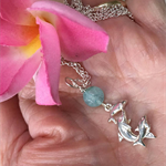 925 Sterling Silver Aquamarine Dolphin Necklace