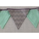 Bunting - Dark & light grey chevron and mint - FREE POSTAGE AUSTRALIA