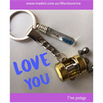 LOVE YOU- FISHING REEL keyring