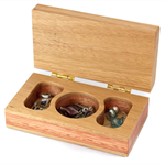 Small wooden jewellery box made from Jarrah, Blackbutt, and Victorian Ash