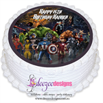 Marvel Avengers Round Edible Cake Topper - PRE-CUT