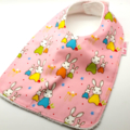 Baby Dribble Bib, Bunny Trail Cotton Fabric, Bamboo Toweling, Snap Fastened.