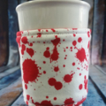 Coffee Cup Wrap: Blood splatter print on White
