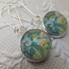 Turquoise and Green Floral Print 16mm Print Glass Earrings hung from silver plat