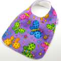 Dribble Feeder Bib Butterflies on Cotton Fabric, Bamboo Toweling, Snap Fastened.