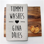 Personalised WASHES Linen Tea Towel in Oatmeal
