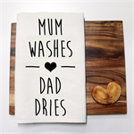 MUM WASHES Linen Tea Towel in Off White