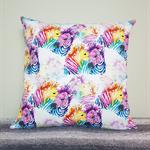 Zebra print cushion cover, bright watercolour print zebras.