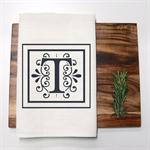 Personalised Monogram Linen Tea Towel in Off White