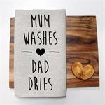 MUM WASHES Linen Tea Towel in Oatmeal