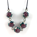 Handcrafted Polymer Clay long or short adjustable necklace- Stone Roses