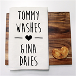 Personalised WASHES Linen Tea Towel in Off White