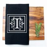 Personalised Monogram Linen Tea Towel in Black