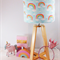 Wooden Table Lamp with  Pale Blue Rainbow Lampshade