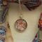 Paisley Scarf with matching cabochon glass dome pendant necklace