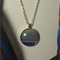 Blue Boho Scarf with matching cabochon glass dome pendant necklace