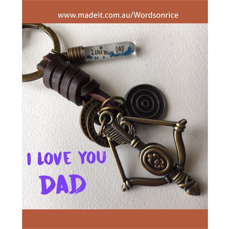 I LOVE YOU DAD bow and arrow keyring