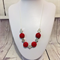 Beautiful elegant necklace with scarlet red cinnabar and silver beads.