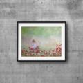 "Fields of Flowers  Girl- Watercolour Painting PRINT - Paintings Prints 10""x8"""