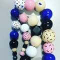 """Hand-painted """"Pop Art"""" Wooden Necklace - extra long"""