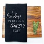 CRUELTY FREE Linen Tea Towel in Black